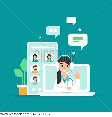 Doctor On The Laptop Screen. Medical Internet Consultation Or Webinar. Healthcare Consulting Web Ser
