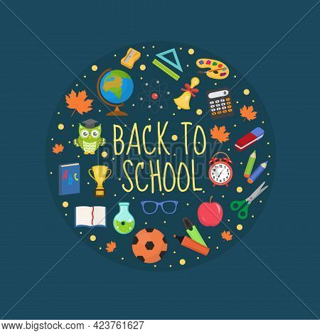 Back To School Icon Set In Round Shape, Flat, Cartoon Style. Education Collection Of Design Elements