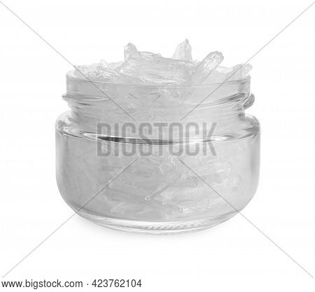 Menthol Crystals In Jar On White Background