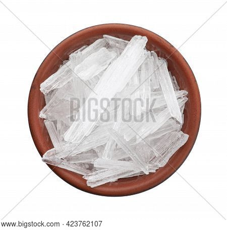 Menthol Crystals On White Background, Top View