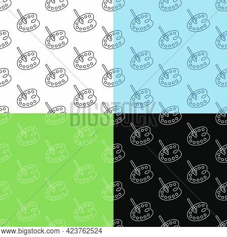 Set Of Seamless Patterns With Painter Palette And Art Brush. Ornament For Decoration And Printing On