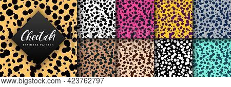 Vector Trendy Cheetah Skin Seamless Pattern Set. Abstract Hand Drawn Wild Animal Leopard Spots Textu