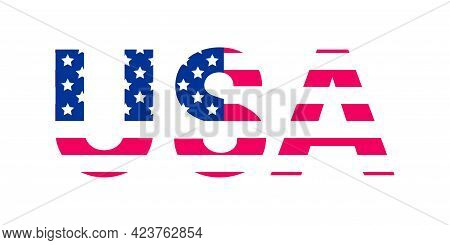 Vector Usa Shape Flag Textured. United States Of America Flag Colors And Stars Textured Design Eleme