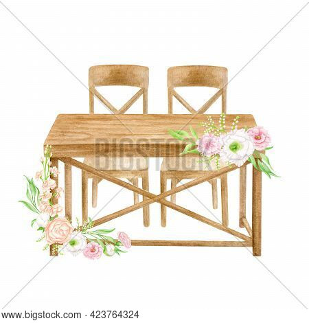 Wood Wedding Table With Flower Arrangement Isolated On White. Hand Drawn Watercolor Sweetheart Table