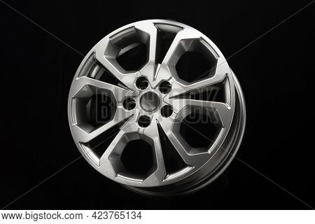 Grey Alloy Wheels, Stylish Unusual Design, Dark Background