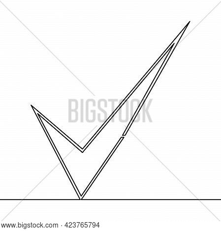 Continuous One Single Line Drawing Check Mark Tick Of Consent Icon Vector Illustration Concept