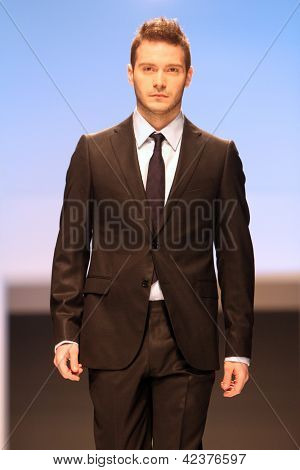 ZAGREB, CROATIA - FEBRUARY 16: Model walks the runway at XYZ collection presentation during on 'Wedding days' show, February 16, 2013 in Zagreb, Croatia.