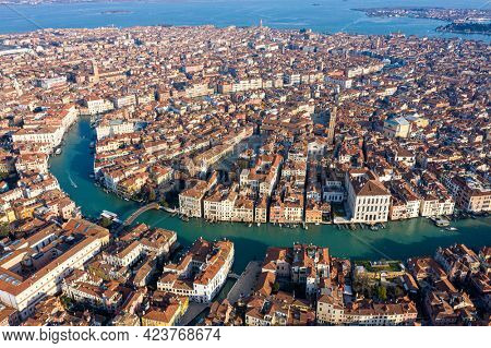 Venice, Accademia bridge and Grand canal from the sky, aerial view