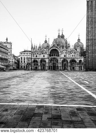 Basilica of Saint Mark and deserted San Marco Square during the crisis COVID-19