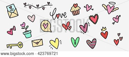 Love Doodle Collection. Heart Shape In Sketch Style. Hand Drawn Romantic Doodles In Flat. Hearts In