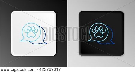 Line Paw Print Icon Isolated On Grey Background. Dog Or Cat Paw Print. Animal Track. Colorful Outlin