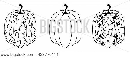 Set Black And White Pumpkins Halloween. Contoured Pumpkins With Abstract Pattern, With Spiders And C