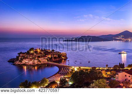 Summer Evening In Sveti Stefan, Ancient Town Of Montenegro
