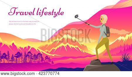 Climber Reached Summit Of Mountain. Traveling And Technology Concept. Lady With Smartphone Posing Fo