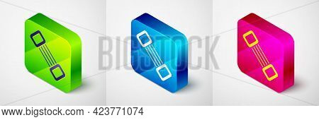 Isometric Chest Expander Icon Isolated On Grey Background. Square Button. Vector