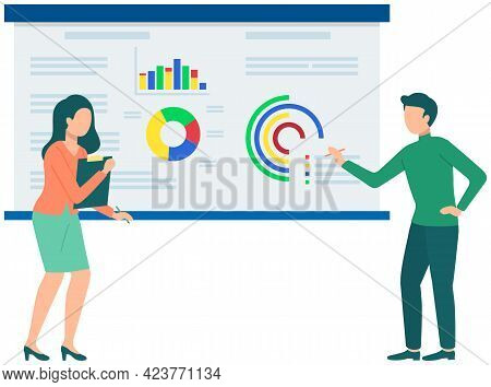 Couple Discussing Financial Chart Analytics. Man And Woman Brainstorming Flipchart Statistic Diagram