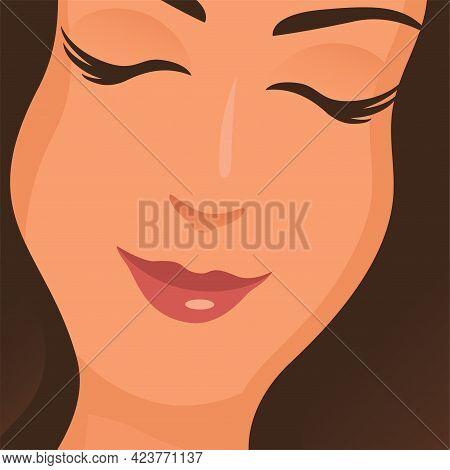 Beautiful Girl Face. Closed Eyes. Beauty Salon, Spa And Body Care Concept. Vector Cartoon Illustrati