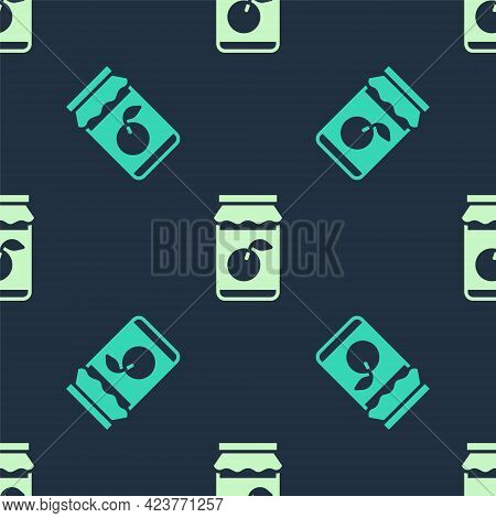 Green And Beige Jam Jar Icon Isolated Seamless Pattern On Blue Background. Vector