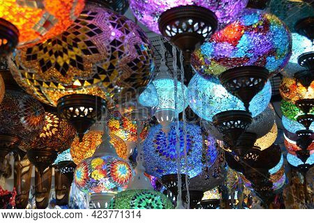 Colorful Turkish,glowing Mosaic,glass Lamps Hanging In A Bazaar In Bodrum.