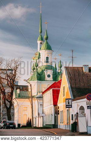 Parnu, Estonia. Old St. Catherines Church Is Russian Orthodox Church. Famous Attraction Landmark.