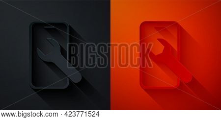Paper Cut Mobile Phone With Wrench Icon Isolated On Black And Red Background. Adjusting, Service, Se