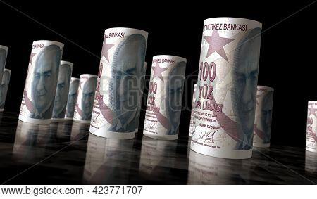 Turkish Lira Money Banknotes Roll Illustration