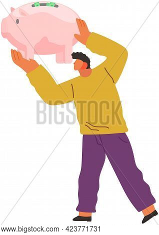 Male Character With Pig Shaped Money Storage Container In Hands. Person With Storage Device For Coin