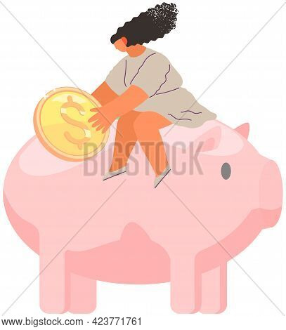 Girl Is Sitting On Pig Shaped Money Storage Container. Storage Device For Coins And Dollar Bills. Wo