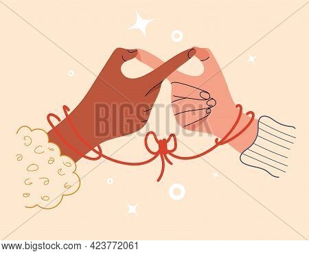 Infinity Sign With Two-finger Gesture. Soulmates Connected By Red Thread Of Fate. Symbol Of Eternal