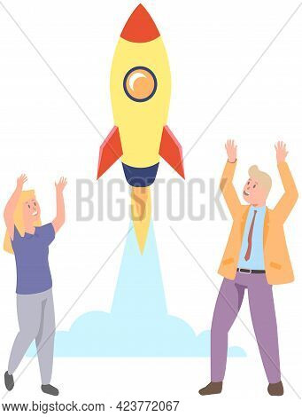 Rich People Watch Rocket Launch. Business Startup And Entrepreneurship. Rocket As Symbol Of New Proj