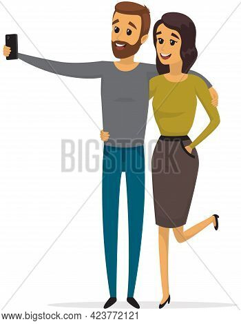 Young Man And Woman Standing And Making Self Portrait With Mobile Phone Camera. Relationship And Tec