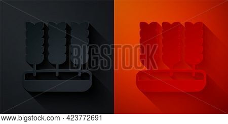 Paper Cut Cereals Set With Rice, Wheat, Corn, Oats, Rye, Barley Icon Isolated On Black And Red Backg