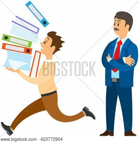 Male Character Is Running With Data Folders To Finish Task Before Deadline. Boss Urges Employee To C