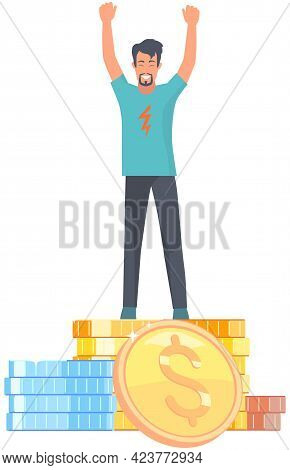 Businessman Standing On Pile Of Gold Coins. Metaphor For Growth And Making Money. Rich Guy Enjoying