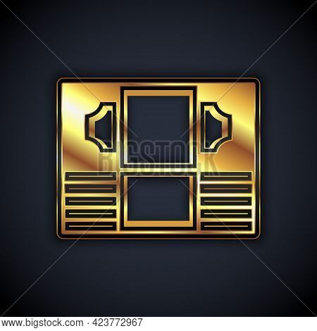 Gold Stacks Paper Money Cash Icon Isolated On Black Background. Money Banknotes Stacks. Bill Currenc