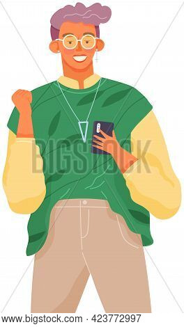 Girl With Smartphone Is Communicating. Female Character Using Mobile Device. Young Woman Is Chatting