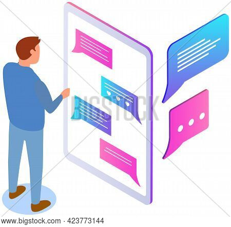 Male Character Uses Smartphone To Chat. Man Chatting In Messenger. Application For Virtual Communica