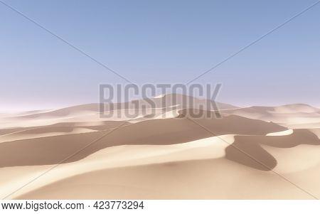 3D render of an abstract desert landscape scene