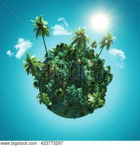 3D render of a Landscape with a palm tree globe on blue sky with clouds