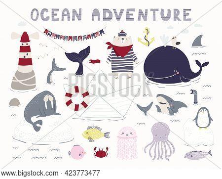 Sea, Ocean Clipart Set, Bear Sailor, Ship, Lighthouse, Shark, Whale, Animals, Fish, Isolated On Whit