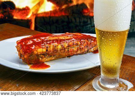 rib with bbq sauce food