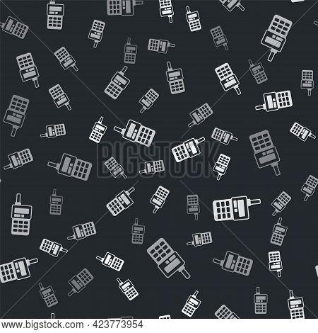 Grey Walkie Talkie Icon Isolated Seamless Pattern On Black Background. Portable Radio Transmitter Ic