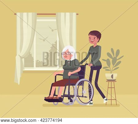 Wheelchair Senior, Aged Handicapped Woman With Nurse At Home. Older Adult Family Care, Volunteer Nur
