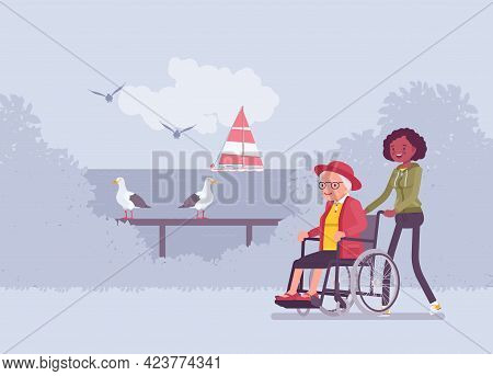 Wheelchair Female Senior, Aged Handicapped Woman Outdoor Walking With Nurse. Volunteer Assisting Old