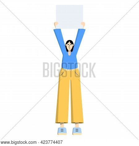 Girl With A Poster, Placard, Banner In Hands. Single Picket. A Woman Is A Participant In A Rally, Si