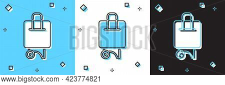 Set Suitcase For Travel Icon Isolated On Blue And White, Black Background. Traveling Baggage Sign. T