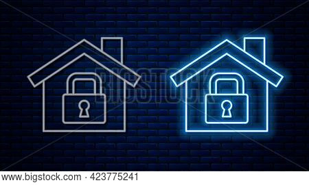 Glowing Neon Line House Under Protection Icon Isolated On Brick Wall Background. Home And Lock. Prot