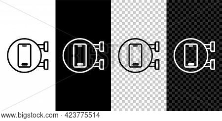 Set Line Phone Repair Service Icon Isolated On Black And White, Transparent Background. Adjusting, S