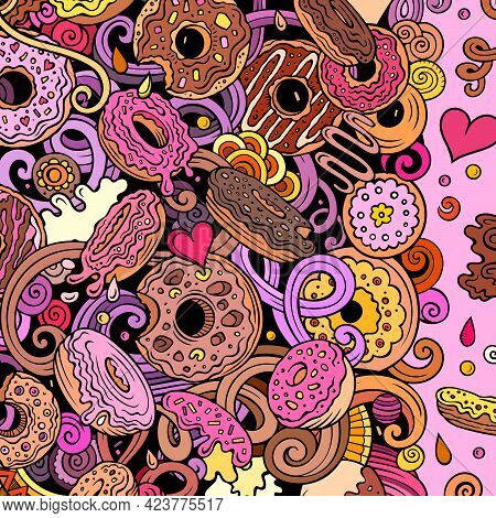Donuts Hand Drawn Vector Doodles Illustration. Sweets Frame Card Design. Doughnut Elements And Objec