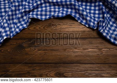 Rustic Background For Oktoberfest With Bavarian White And Blue Fabric On Old Wooden Board With Copys